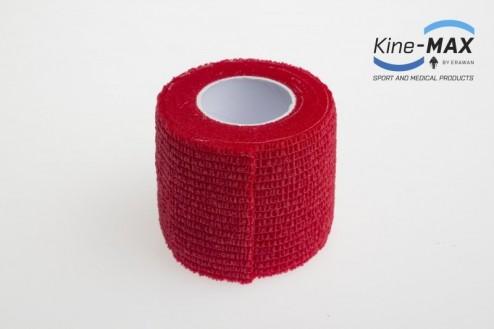 KINE-MAX COHESIVE ELASTIC BANDAGE ELASTICKÁ SAMOFIXAČNÍ BANDÁŽ 5cm x 4,5m - Červená č.2