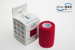 KINE-MAX COHESIVE ELASTIC BANDAGE ELASTICKÁ SAMOFIXAČNÍ BANDÁŽ 7,5cm x 4,5m - Červená