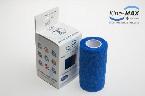 KINE-MAX COHESIVE ELASTIC BANDAGE ELASTICKÁ SAMOFIXAČNÍ BANDÁŽ 10cm x 4,5m - Modrá č.1