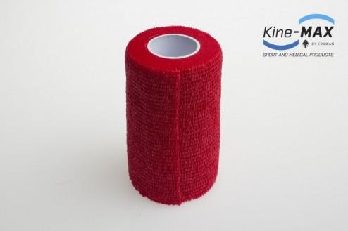 KINE-MAX COHESIVE ELASTIC BANDAGE ELASTICKÁ SAMOFIXAČNÍ BANDÁŽ 10cm x 4,5m - Červená č.2