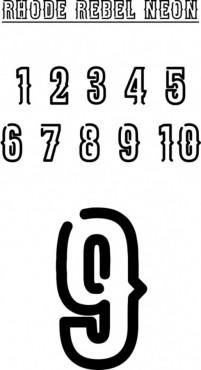 POTISK TRENEK, čísla 2-16, 5cm, Rhode Rebel Neon č.1