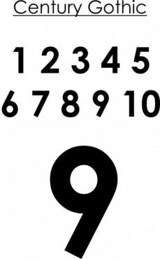 POTISK TRENEK, čísla 2-16, 5cm, Century Gothic č.1
