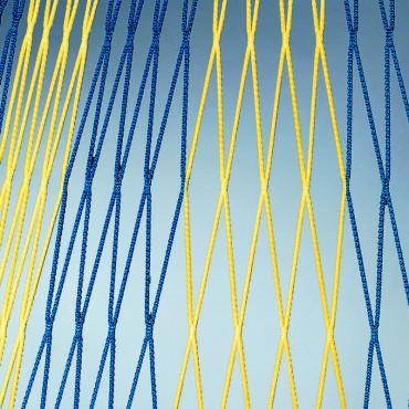 FOTBALOVÁ SÍŤ DVOUBAREVNÁ 107 4 mm 7,5x2,5x0,8x1,5m - Modrá, Žlutá č.1